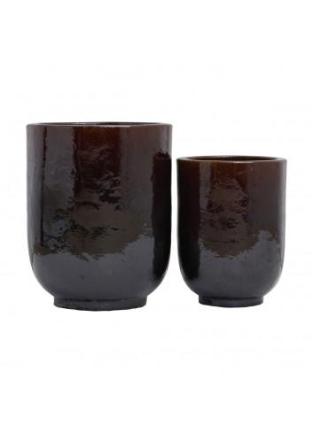 Bloempotten keramiek PHO (set van 2) - donkerbruin