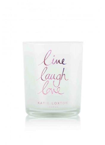 Metallic candle 'live laugh love'