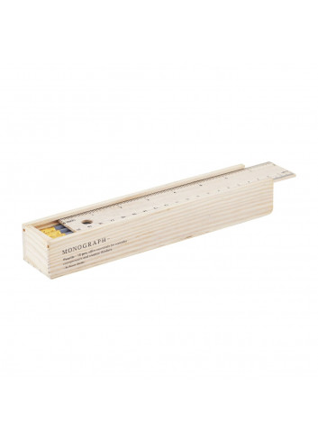 Wooden box with 12 pencils - grey