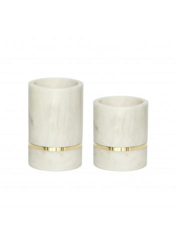 Vase Marble (Set of 2), White/Brass