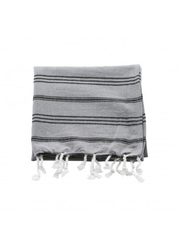 Hammam towels, Grey w. black stripe