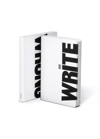 Bullet Journal/Notitieboek Write/Wrong - leder - zwart/wit