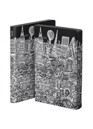 Bullet Journal/Notitieboek Londen - leder - zwart/wit