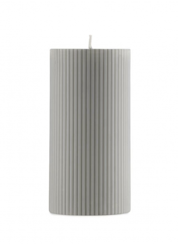 Grooved Block Candle - Grey