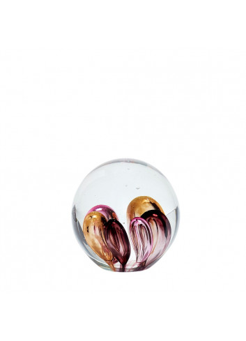 Paperweight Glass Pink-Brown-Purple
