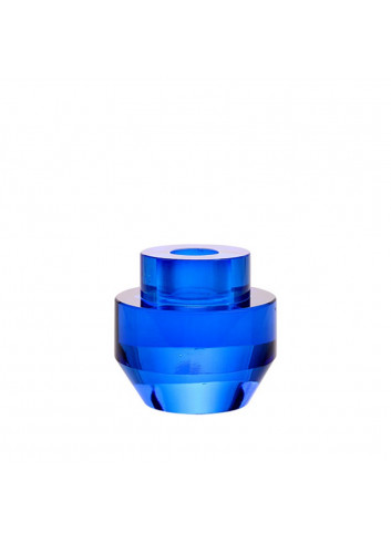 Candle holder crystal glass - cobalt/round