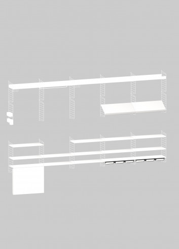 Shelving System with folding table - White