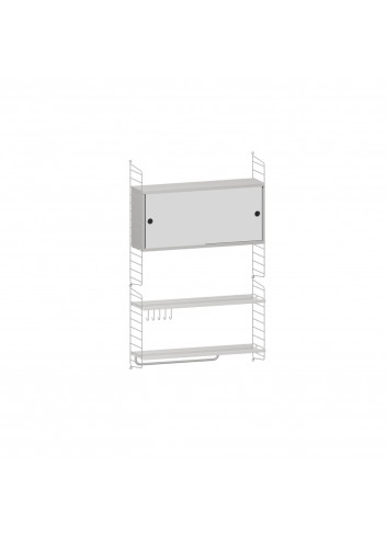 Shelving System with mirror - Grey