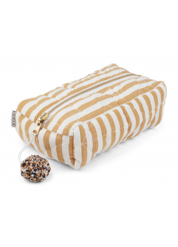 Beate toiletry bag - stripe mustard