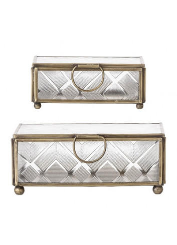 Set of 2 boxes - gold/glass