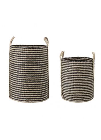 Set of 2 baskets seagrass - natural/black