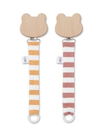 Sia pacifier strap 2 pack - stripe mustard & rusty