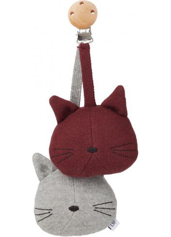 Kinderwagen speeltje / Knuffel met clip - Kat grijs melange