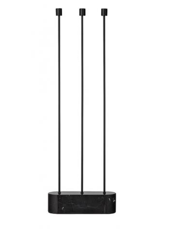 Floor candle holder GRASIL - black/marble