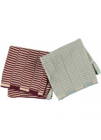 Stringa Dischcloths (2pack) - Aubergine/Pale Blue