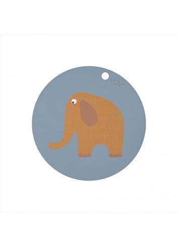 Placemat Elephant - ochre/blue