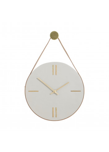 Clock - concrete/leather