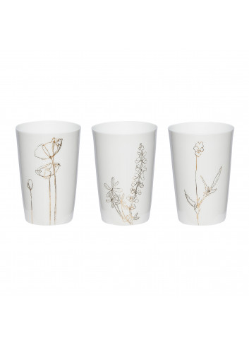 Tealight glass (set of 3) with flower print - white/gold