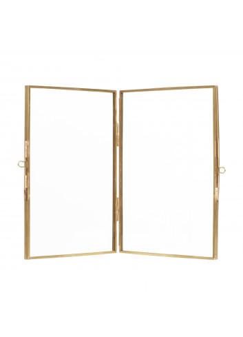 Double photo frame (standing) - brass/glass